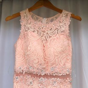 Pink Beaded Prom Dress by Aspeed